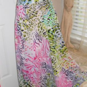 colorful long skirt. fully lined. animal print